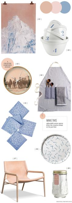 Pale pink, chambray blue and camel make such a great color palette!