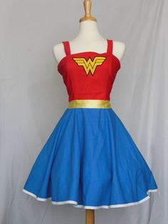 Wonder Woman Retro Style Dress by Lameasaurus on Etsy, $120.00