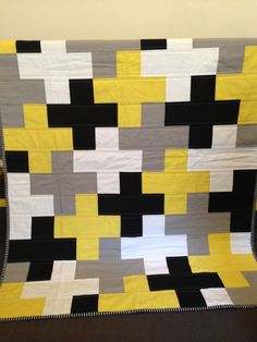 Grey Yellow Black and White Cross or Plus Cot by RosaleesRoom