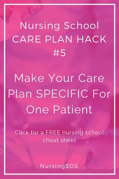 Nursing School Care Plan Hack Make Your Care Plan SPECIFIC For One Patient. Click through for more nursing school care plan hacks to help you ACE your nursing school care plans! School Nurse Jobs, Nursing School Scholarships, Online Nursing Schools, Nursing School Tips, Nursing Career, Nursing Tips, Nursing Students, Nursing Process, Nursing Notes