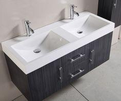 € 699,- Lambini Designs Silvo Badmeubel incl. kranen en kolomkast - eiken/antraciet - 2 kraangaten - 120cm (B) - 49cm (D) #badkamer #inspiratie #meubel #trendy