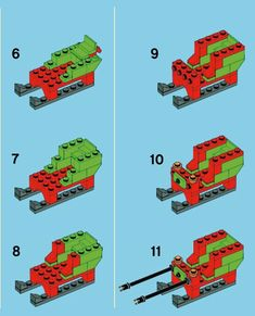 LEGO 40059 Santa Sleigh instructions displayed page by page to help you build this amazing LEGO Seasonal set Lego Duplo, Lego Christmas Village, Lego Winter Village, Lego Advent Calendar, Lego Design, Lego Friends, Legos, Lego Vintage, Lego Ornaments