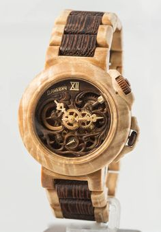 Classic watch, wooden movement by Valerii Danevych Wooden Gear Clock, Wooden Gears, Wood Clocks, Wall Clock Kits, Skeleton Watches, Metal Spring, Gents Watches, Wooden Watch, Handmade Wooden