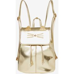 Metallic Cat Backpack (545 ARS) ❤ liked on Polyvore featuring bags, backpacks, cat backpack, rucksack bags, knapsack bag, draw string bag and white bag