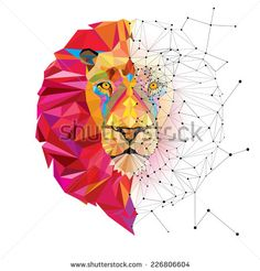 Vecteur : Lion head in geometric pattern with star line vector Geometric Patterns, Geometric Lion, Lion Vector, Vector Art, Vector Stock, Animal Drawings, Art Drawings, Polygon Art, Color Vector