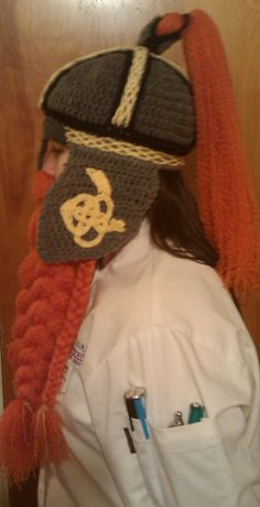 Crocheted Viking Dwarf Hat with Beard