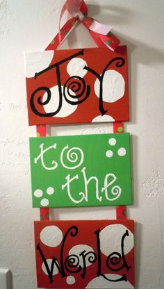 maybe on wood for the front door? Christmas Decoration - Three 5x7 hand-painted canvas plaques connected with ribbon