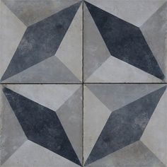 Antique Cement tiles in a four tile pattern, optical illusion with a 4 pointed star, greys and black