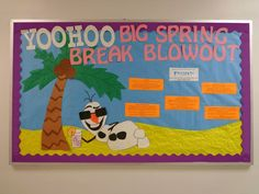 Resident Assistant bulletin board with Frozen theme featuring Olaf at the beach! Beach Spring Break appeal RA: