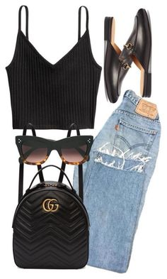 A fashion look from August 2017 featuring Gucci loafers, Gucci backpacks and CÉLINE sunglasses. Browse and shop related looks. Mode Outfits, Trendy Outfits, Fashion Outfits, Womens Fashion, Fashion Trends, Fashion 2020, Fasion, Fashion Tips, Mode Ootd