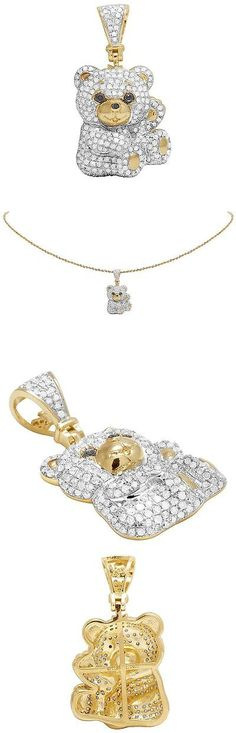 Diamond 164331: 10K Yellow Gold Genuine Diamond Iced Teddy Bear Pendant Charm 1 Ct 1.2 -> BUY IT NOW ONLY: $689.99 on eBay!