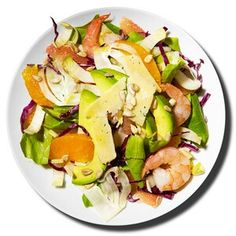 Citrus Shrimp Salad  Saute 3 ounces shrimp with 1 garlic clove, chopped, and 1 tablespoon lemon juice in a skillet coated with nonstick cooking spray. Combine 1/3 cup chopped bibb lettuce, 1/2 cup chopped endive, 1/2 cup chopped red cabbage, and 1/2 cup chopped fennel. Collect juice from 1/2 navel orange and 1/2 pink grapefruit. Peel and cut remaining fruit into segments. Whisk together 1/2 teaspoon olive oil and citrus juice and toss with mixed greens; 1/3 avocado, sliced; shrimp; and…