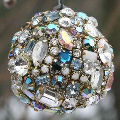Vintage Rhinestones Ball Orb Sphere Ornament by ASoulfulJourney, $65.00