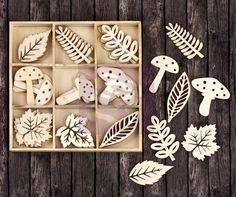 Leaves & Mushrooms 36 Pieces Laser Cut Wood Icons In A Box Embellishments 563868 Scrapbook Expo, Scrapbook Supplies, Art Supplies, Laser Cut Wood, Laser Cutting, Chalk Ink, Making Greeting Cards, Wood Pieces, Vintage Wood