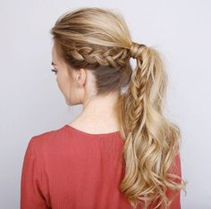 Side braid into a ponytail by Missy