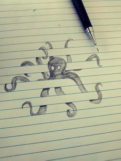 Drawn octopus behind bars