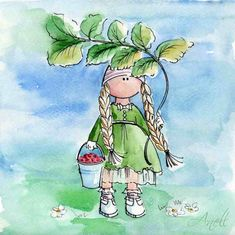 Little girl Watercolor Print  Watercolor by AnellHappyWatercolor