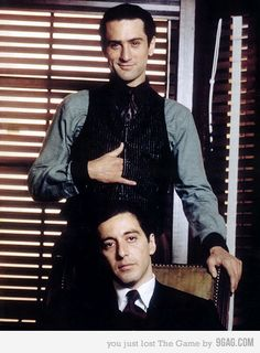 Portrait of Robert De Niro and Al Pacino for The Godfather II directed by Francis Ford Coppola, Photo by Steve Schapiro The Godfather Part Ii, Godfather Movie, Old Hollywood, Classic Hollywood, People Always Leave, Don Corleone, Andy Garcia, Cinema Tv, Meryl Streep