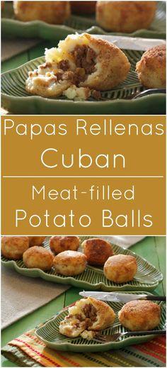 Papas Rellenas are traditional Cuban potato balls filled with ground meat. food cuban Papas Rellenas {Cuban Meat Balls} - What A Girl Eats Cuban Appetizers, Appetizer Recipes, Fall Appetizers, Cuban Dishes, Beef Dishes, Mexican Food Recipes, Beef Recipes, Cooking Recipes, Spanish Food Recipes