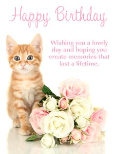 Send Free Sweet Kitten & Flowers - Happy Birthday Card to Loved Ones on Birthday & Greeting Cards by Davia. It's free, and you also can use your own customized birthday calendar and birthday reminders.