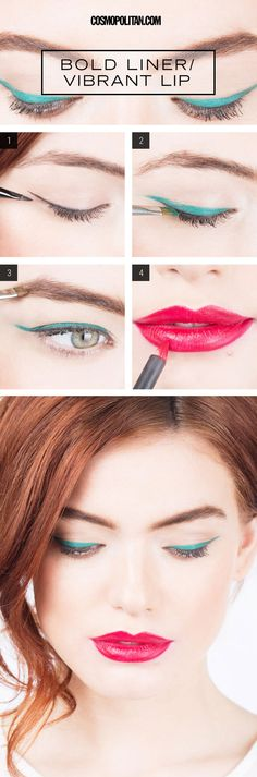 Teal Eye Liner How To - Green Eye Liner Bold Pink Lips - Seventeen