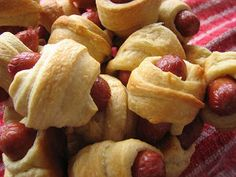 Pigs in a Blanket.  These are so good, and easy and inexpensive, and they get snapped up so fast you wouldn't believe!