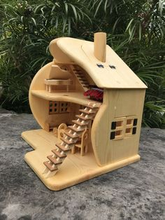 Doll House Plans, Wooden Dollhouse, Wooden Art, Wood Toys, Bird, Outdoor Decor, Home Decor, Woodwind Instrument, Toys