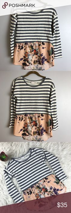 "ANTHRO Postmark Layered Stripes Sweater Beautiful stripes and flowered top! Perfect for fall and winter.   Lying flat:   Pit to pit: 17""  Length 26 "" back, 23"" front   Condition: Excellent pre-owned condition  Runs a little bit. Would fit a XS or S. Anthropologie Tops"