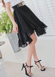Today's Hot Pick :Ruffled Chiffon Skirt http://fashionstylep.com/SFSELFAA0008240/bapumken1/out High quality Korean fashion direct from our design studio in South Korea! We offer competitive pricing and guaranteed quality products. If you have any questions about sizing feel free to contact us any time and we can provide detailed measurements.