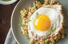 What's better than a big bowl of sticky brown rice? Putting an egg on it. Get the Japanese-inspired recipe here, made with chia seeds and green onions.