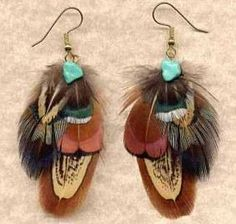 Feather Earrings - Ring-Necked Pheasant - OFFSET Version clickincowgirls.com