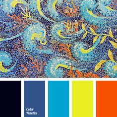 azure color, blue-color, bright orange color, bright yellow color, bright-blue color, cold and warm shades, color of sicilian orange, contrast shades, midnight blue color, orange color, sunny yellow color.