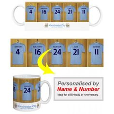 Man City Personalised Player's MugAppear alongside Man City Stars like Nasri and Silva.    We merge your Surname and chosen number onto the centre shirt in the Official Manchester City dressing room. Displayed on a quality, durable mug, this superb full-colour design is guaranteed to make you the envy of the office. Manchester City, Gifts For Boys, Dressing Room, Envy, Centre, Great Gifts, Football, Number, Colour