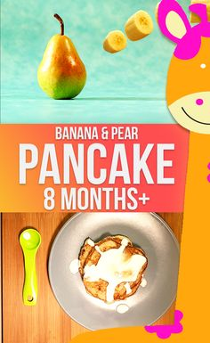 Everybody loves pancakes! Learn how to make a quick and delicious meal from this Banana Pear Pancakes Recipe for Babies (8 months+) | Homemade Baby Food Recipe