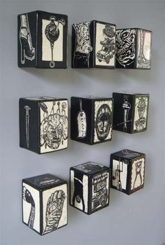 wall boxes with a sgraffito finish. - Clay wall boxes with a sgraffito finish. -Clay wall boxes with a sgraffito finish. - Clay wall boxes with a sgraffito finish. High School Art, Middle School Art, Sgraffito, Ceramics Projects, Art Projects, Drawing Projects, Ceramic Wall Art, Art Club, Art Plastique