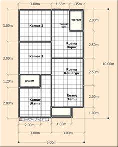 Desain Rumah Sederhana 6 X 10 Meter - DesainRumahku. Little House Plans, Dream House Plans, Small House Plans, Home Layout Design, Home Design Plans, Minimal House Design, Small House Design, Room Design Bedroom, Home Room Design