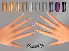 A beautiful collection of shimmering metallic nails. 10 colors, including gold and silver shades ,few dark colors. For ages from teen to elder. Available in the category RINGS. Found in TSR Category 'Sims 4 Female Rings' Sims 4 Nails, Cc Nails, Sims 4 Cc Skin, Sims Cc, Metallic Nails, Gold Nails, Sims 4 Cc Kids Clothing, Sims 4 Cc Shoes, Sims 4 Cc Makeup