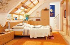 Bedroom, Futuristic Innovative Attic Bedroom Inspirations: Orange Splendid Attic Bedroom Interior Design By Hulsta Attic Bedroom Designs, Attic Bedrooms, Attic Design, Loft Design, Bedroom Loft, Cozy Bedroom, Bedroom Decor, House Design, Interior Design