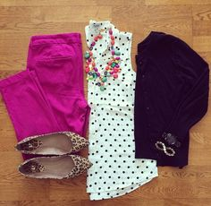 dotted shirt bright pants neutral cardi animal print flats statement necklace