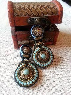 Soutache Ohrstecker soutache earrings mit Vintage von BeadStArt