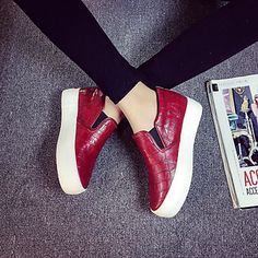 Can't get enough from sneakers with wedge heel! Repin if you also like this red pair!