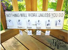 Chore chart with free printable tags.