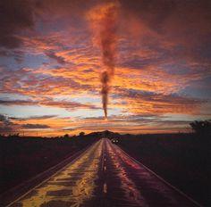 orange sky, smoke, photo by Reuben Wu