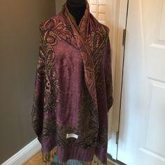 "CASHMERE BLEND REVERSIBLE PASHMINA SHAWL WRAP Gorgeous shawl wrap measures 74"" by 26"" Accessories Scarves & Wraps"