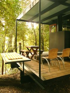 Image 3 of 37 from gallery of Recycled Materials Cottage / Juan Luis Martínez Nahuel. Courtesy of juan luis martínez nahuel Outdoor Tables, Outdoor Spaces, Outdoor Decor, Garden Pods, Tiny House, Small Beach Houses, Wooden Facade, Cottage In The Woods, Deck