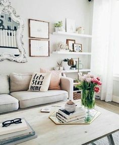 Novel Small Living Room Design and Decor Ideas that Aren't Cramped - Di Home Design Home Living Room, Apartment Living, Cozy Apartment, Apartment Ideas, Rustic Apartment, Apartment Goals, Living Room Decor With White Couch, Studio Apartment, Feminine Apartment