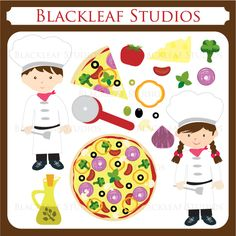 Kids Pizza Party Chef Clipart - This vector clip art set is suitable for creating invitations, monograms, embroidery, stickers, labels, return address labels, logo, website graphics, blog elements, digitizing, scrapbooking and crafting.