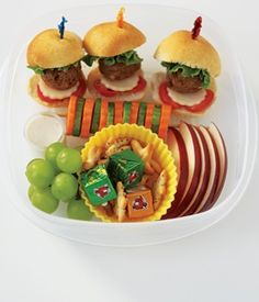 What a fun kids bento box combo of finger foods! As pictured, mini meatball hamburgers with cheese and tomato, carrot and cucumber flowers with ranch dip, apple slices, grapes, snack crackers, and cheese cubes. Yum!  For more creative ideas for kids lunches LIKE US on Facebook @ https://www.facebook.com/SchoolLunchIdeas