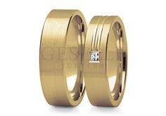Wyjątkowa para obrączek ślubnych w stylu klasycznym - żółte złoto, piękny mat i wspaniały brylant - GRAWER W PREZENCIE   OBRĄCZKI ŚLUBNE \ Żółte złoto od GESELLE Jubiler