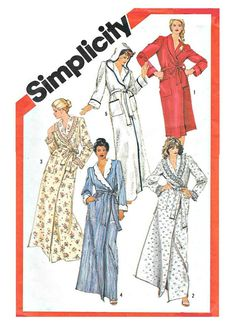 UNCUT MISSES ROBE Sewing Pattern - Vintage 1982 Simplicity 5814, Size 14 - 16 - Classic Design, Shawl Collar or Hooded, Front Wrap, Pockets